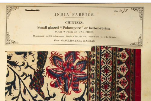 Chintz Palampore sample from Masulipatam by John Forbes, 1866.