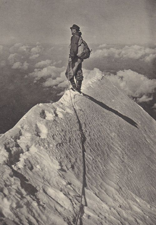 Hiker on the Summit of the Aiguille-de-Bionnassay, unknown.