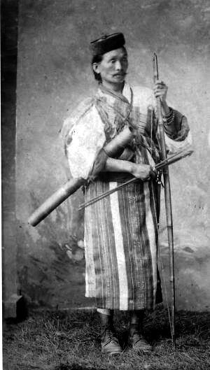Indigenous Lepcha man with his bow and arrow.