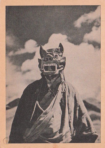 Italian expedition of Tibet, showing traditional masks worn during ceremonial dances, 1948.