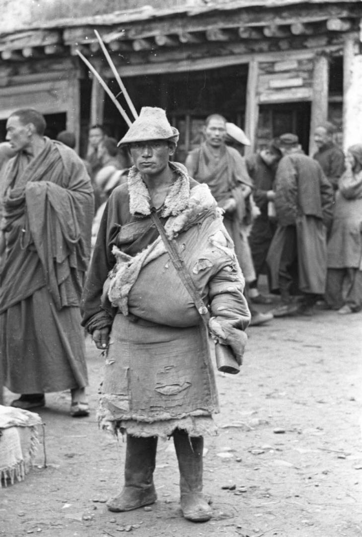 Tibetan nomad with rifle, 1960's.